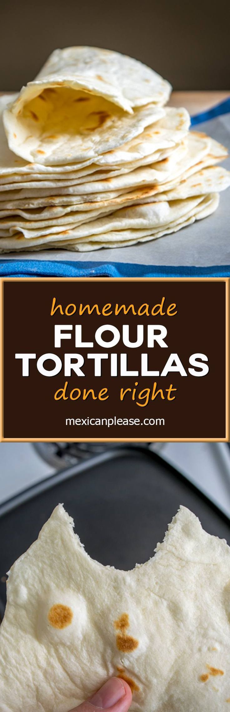 These light, delicious homemade flour tortillas have only four ingredients and come in at just under eight cents each!  mexicanplease.com