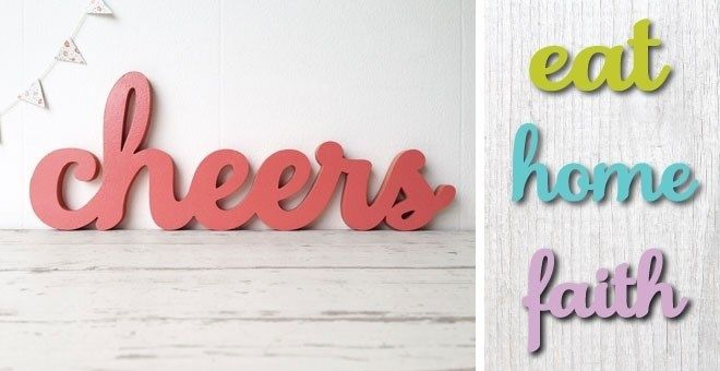 "Spruce up any room in your home with our thick, high-quality wood mdf cut-out signs! These look great hung alone or several words grouped together!  Or hang them with family photos, your little one's artwork or fun prints!WORD CHOICESBake, Cheers, Cook, Eat, Faith, Home, Hope, Joy, Love, Play, PrayDETAILSUNFINISHED, ready to paint!Cut from 1/2"" thick mdf (wood composite)14"" long (""cheers"" and ""faith"" are 15"" long)prop or hang with Command picture hangers (not included)Endless finishing ..."