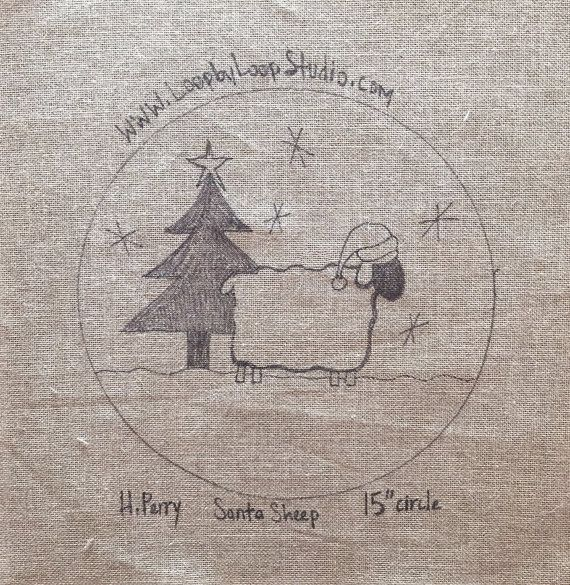 Santa's Sheep - Original Hand Drawn Rug Hooking Pattern on Your Choice of Foundation