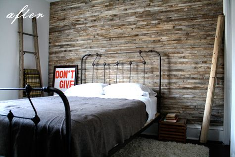 barn wood wall: Irons Beds, Pallets Wall, Salvaged Wood, Wall Treatments, Reclaimed Wood Wall, Wooden Wall, Beds Frames, Wood Accent Wall, Bedrooms Wall