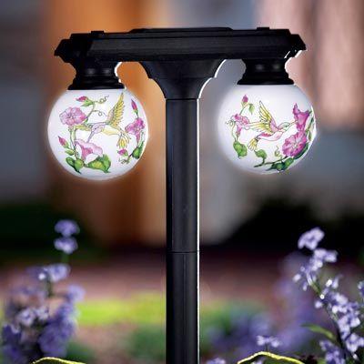 Solar Hummingbird Globes Outdoor Garden Stake