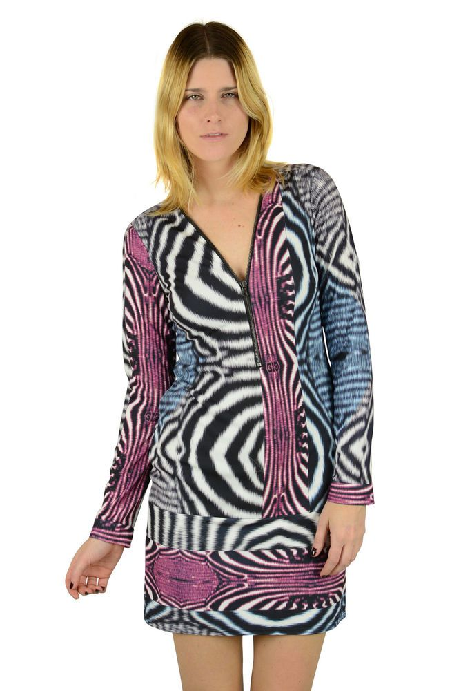 Yoana Baraschi Womens Black White Pink Animal Print Zip Up Dress S $298 New #YoanaBaraschi #Sheath #Casual