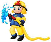 Un bombero con una manguera de agua amarilla — Ilustración de Stock #22025409
