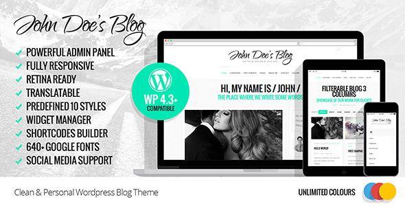 John Doe's Blog - Clean Wordpress Blog Theme
