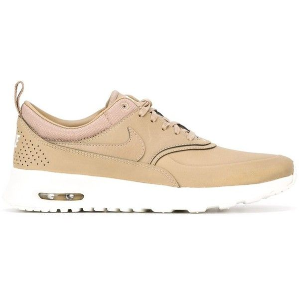 Nike Nike Air Max Logo Sneakers ($128) ❤ liked on Polyvore featuring shoes, sneakers, flats, brown, leather flat shoes, leather flats, brown flat shoes, leather trainers and brown shoes
