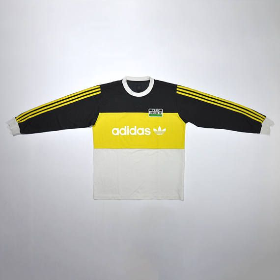 Rare Vintage 80s 90s ADIDAS Yellow Jumper Pullover ADIDAS