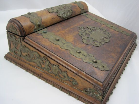 Antique Travel Desk - Burl Wood - Antique Victorian Tabletop Writing Desk - Secretary