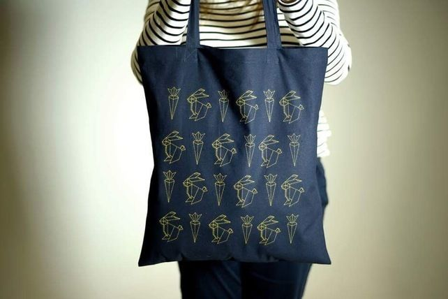 Bunny tote bag in navy blue! Origami rabbit and carrot eco shopping bag.  £12.00