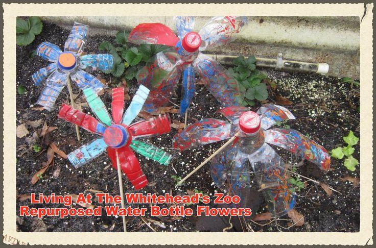 repurposed water bottle flowers craft