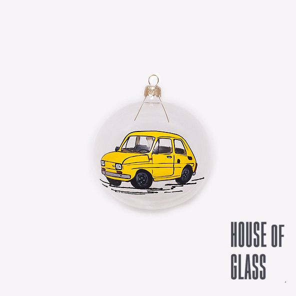 hand painted bauble with polish car Fiat 126p | Christmas decorations