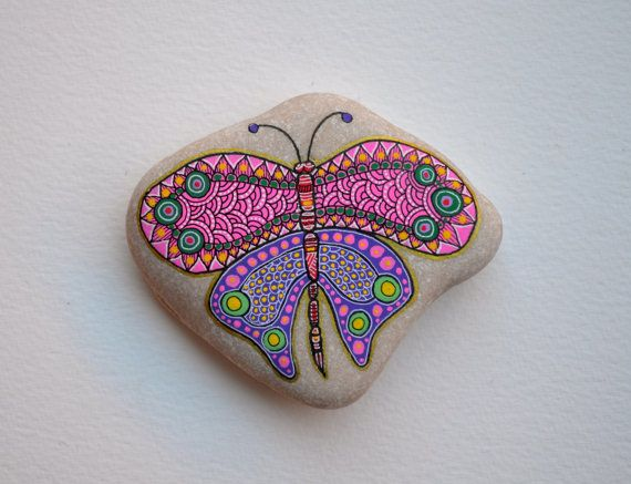 hand painted butterfly on a pebble rock https www