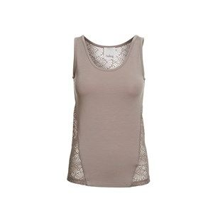ANASTASIA tank top w lace on back, mushroom. Sleeveless top with the softest modal in the front and lace on the back.