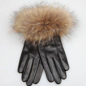 ELMA femmes Italienne Gants de cuir véritable long doublé polaire avec luxueuse fourrure de raton laveur Cuff