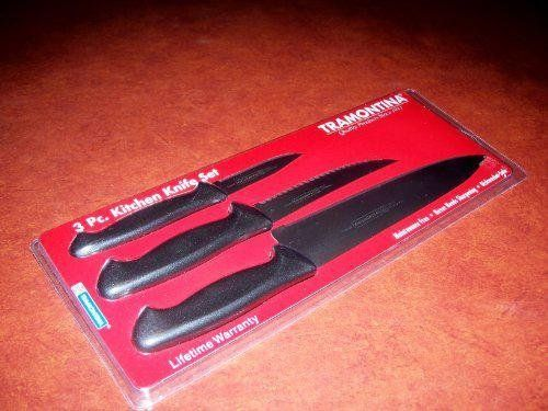 "Tramontina 3 Piece Kitchen Knife Set w/ Poly-handles -- Black by Tramontina. $8.00. Includes: 3"" paring, 5"" utility & 8"" cook's knife. Micro-serrated edge never needs sharpening. High carbon stainless steel. Polypropylene handle. Dishwasher safe. Blister pack. Manufacturer number: 80020/505."