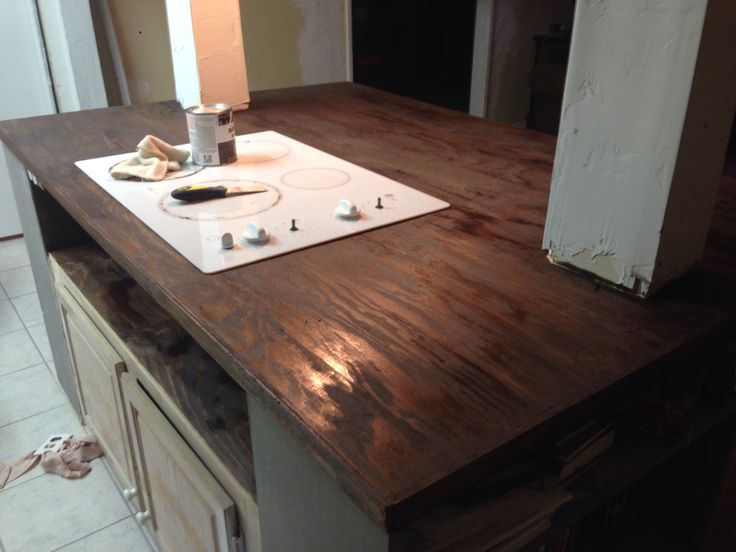 Diy faux butcher block countertops counters pinterest How to install butcher block countertop