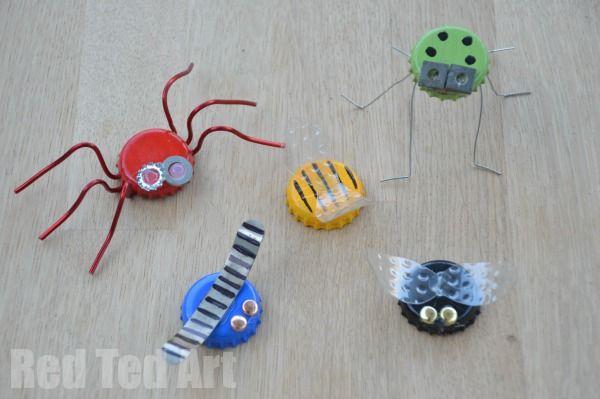 Bottle Top Crafts - turn Beer Bottle Tops into funky little bugs. A great Spring Craft for older kids.