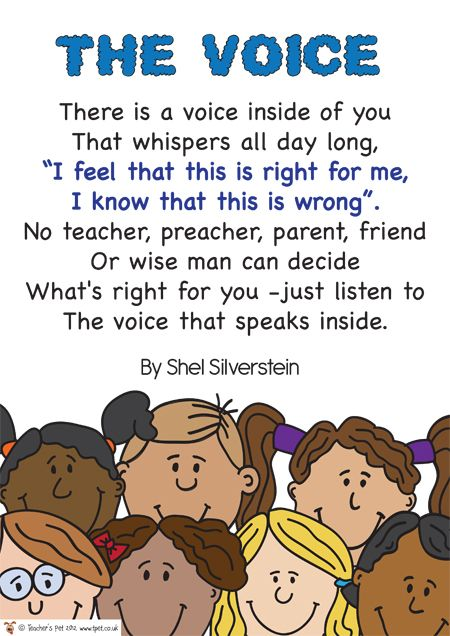 The Voice Poem » FREE downloadable EYFS, KS1, KS2 classroom display and teaching aid resources » A Sparklebox alternative