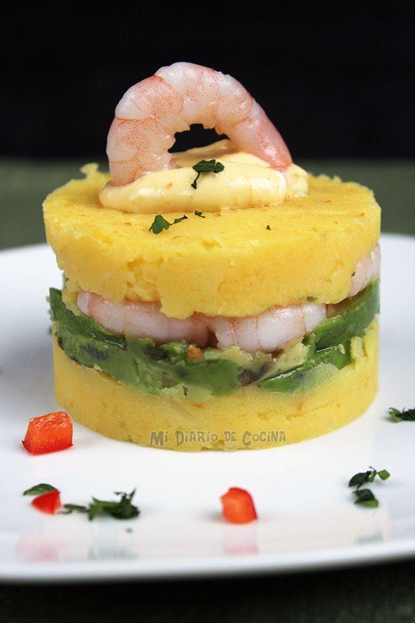Recipe of Causa de Camarones (Shrimp Causa), a delicious Peruvian dish.