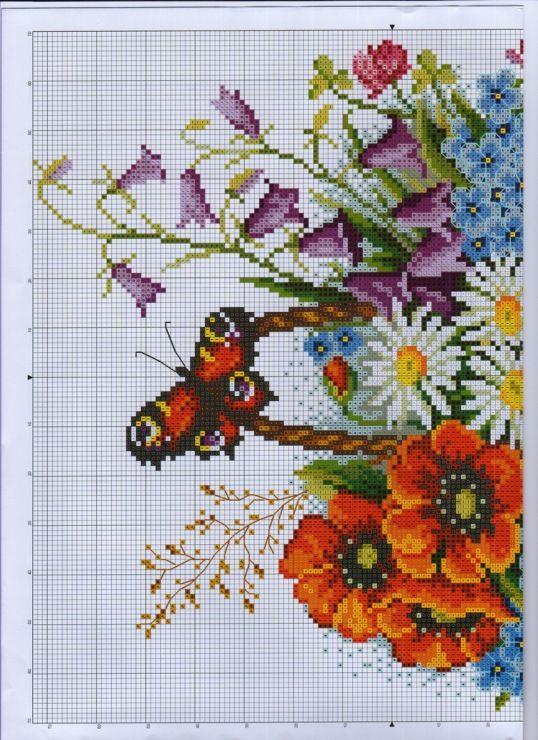 Flower Baskets Cross Stitch Charts : Poppy bouquet and other flowers chart cross stitch