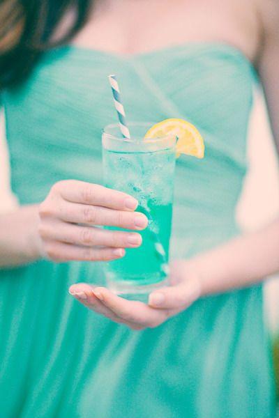 Blue Curacao Lemonade - 1 shot vodka, 1 shot peach schnapps, 1 cup lemonade, a dash of Blue Curacao