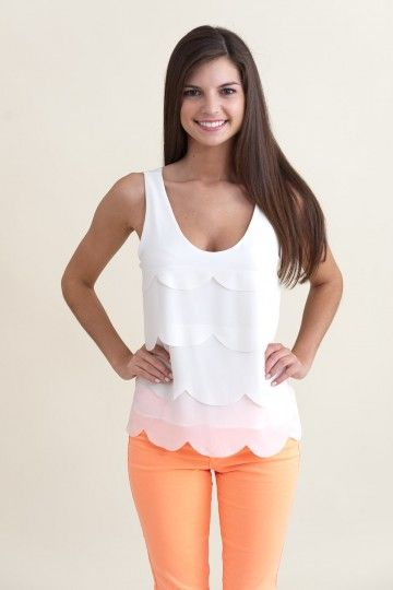This top is too cute. Love the color of the skinny pants....