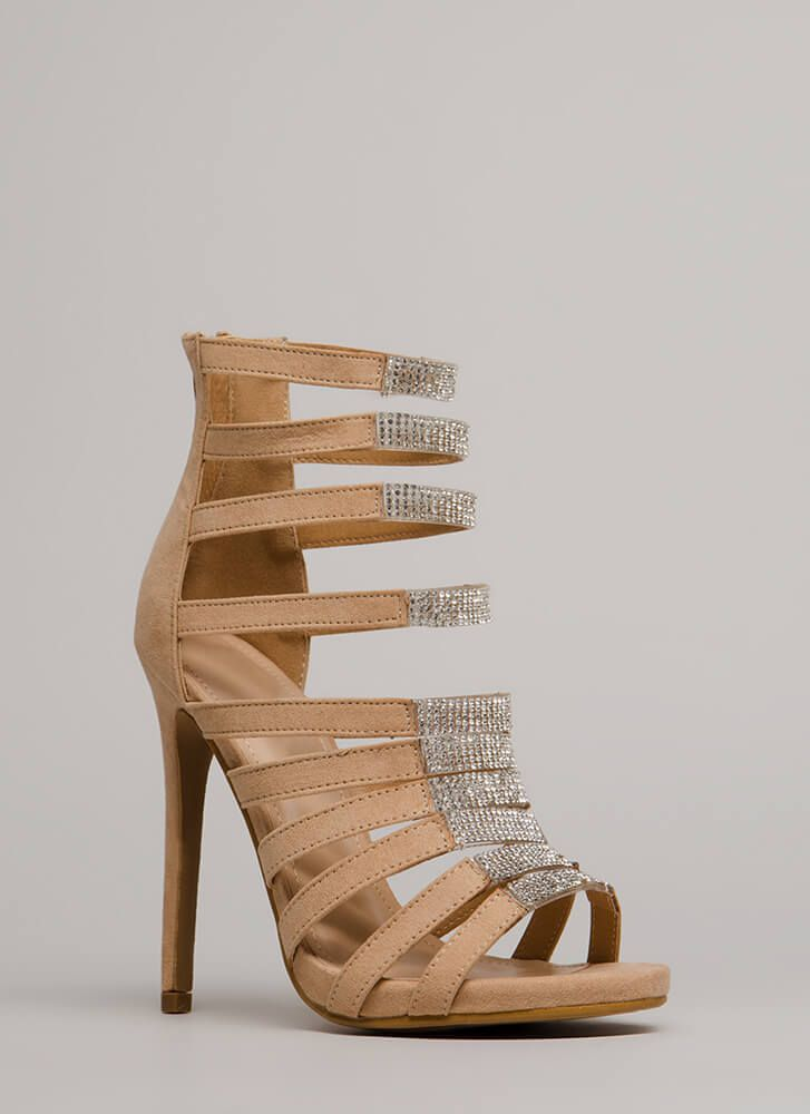 64021994289499 Ten To One Strappy Jeweled Heels NUDE BLACK RED - GoJane.com