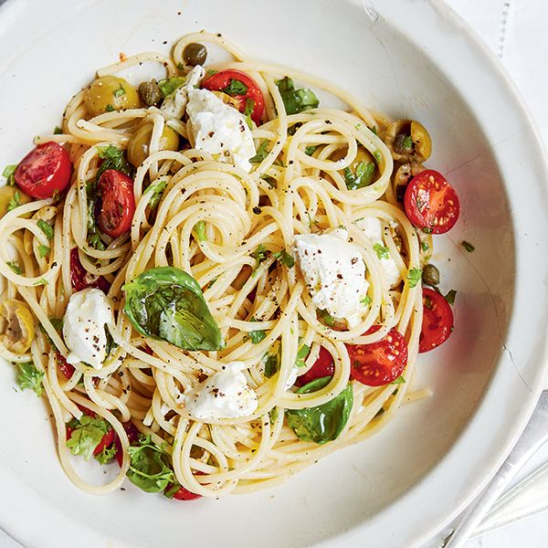 Checca Roman spaghetti sauce:  Bright red cherry tomatoes are tossed with capers, olives, basil, mozzarella, chilli and garlic, and finished with ricotta