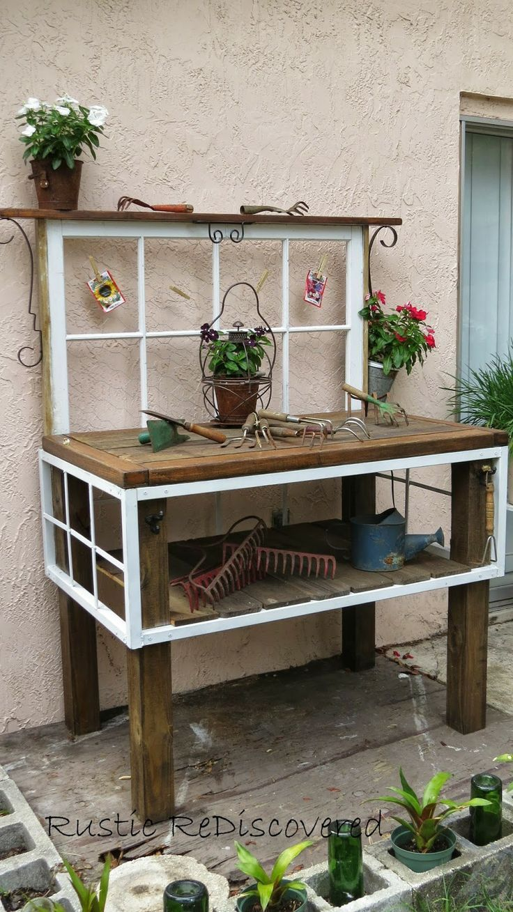 Rustic ReDiscovered: Vintage Garden Potting Bench Made From Old Window And Table Pieces. #rustic #garden #vintage