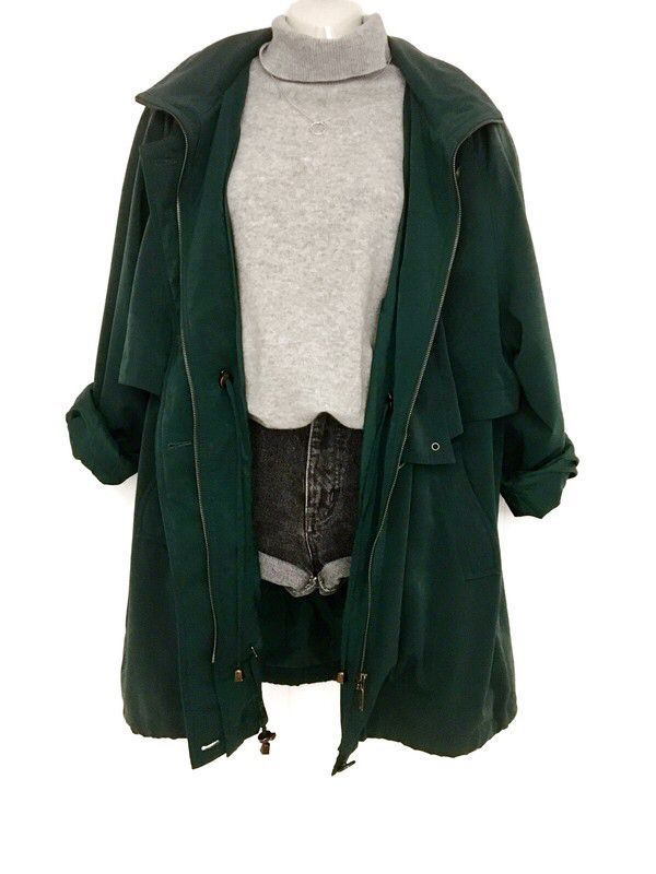 Mein wahrer Vintage 80er Jahre Mantel Jacke Übergröße Mantel dunkel grün lässig Street Wear