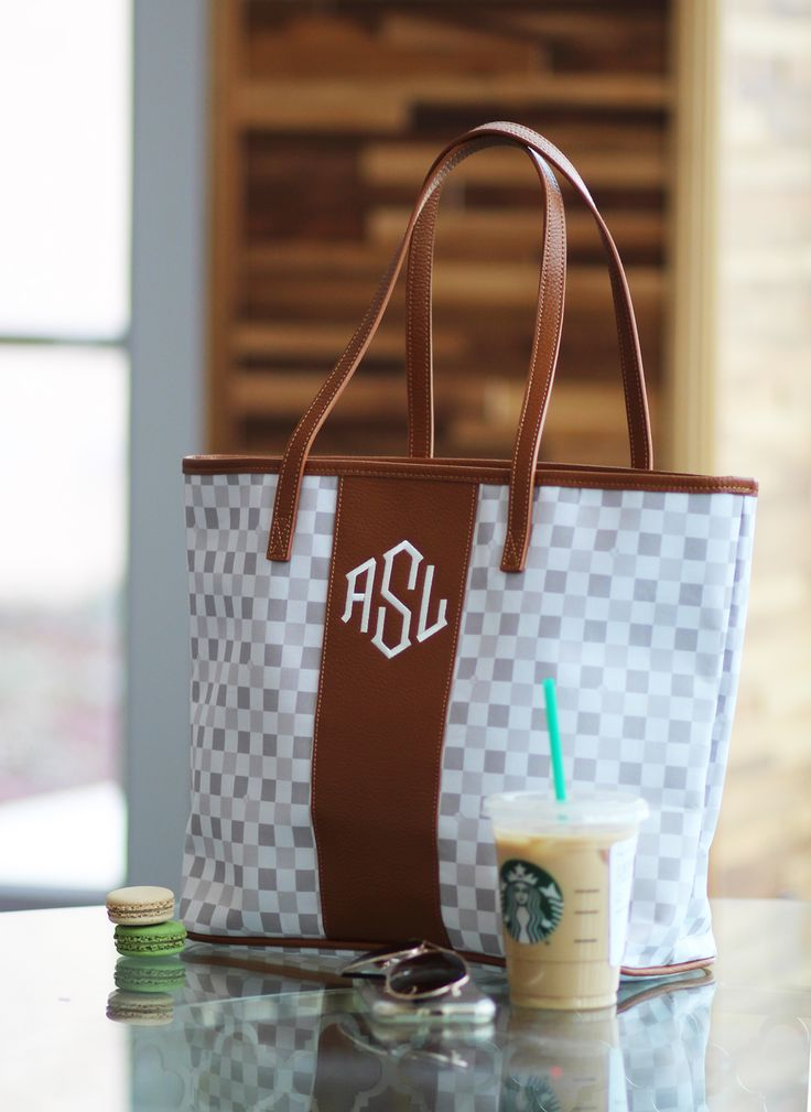 Perfect bag for the summer! Check out this cutteee monogrammed tan checker tote bag!