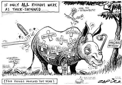 Zapiro's cartoon shows Jacob Zuma as a thick skinned Rhino listing Zuma's record leading up to the ANC's Managaung conference. Nkandlagate, Limpopo textbooks, Sex scandals, Marikana, Corruption charges, Rape trial and Zumaville.