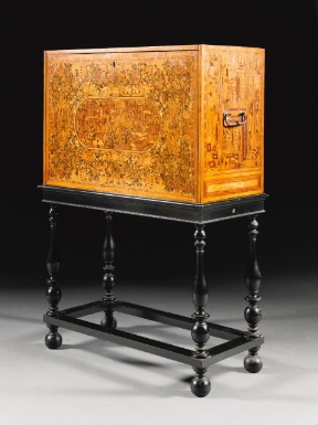 A South German amaranth, ash, yew, elmwood, walnut, stained fruitwood, marquetry and parquetry cabinet, Augsburg third quarter 16th century - Sotheby's