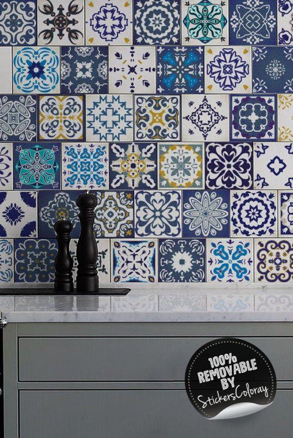 Traditional Lisbon Tile Stickers Pack Of 24 Blue Tile Decals Removable Portugal Arabesque Ornaments Decorative Peel And Stick 26t Tile Decals Tiles Blue Tiles