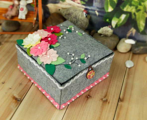 DIY Cherry Blossom Non Woven Organiser Box | Precut Non-Woven Fabric DIY Project | Craft Kit Pattern & Supply by NaturalbeautyDIY on Etsy