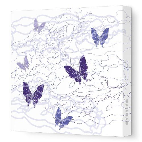 "Avalisa Stretched Canvas Nursery Wall Art, Butterfly Trails, Purple, 18"" x 18"" Reviews... Visit Site or click on the image for more details, reviews and price comparison."