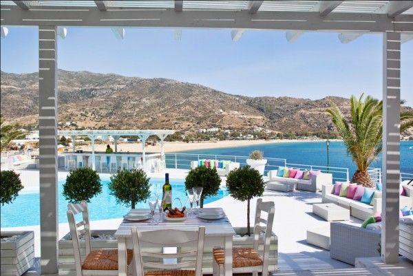 Ios Palace, Ios, Greece.  My table at breakfast every morning.  Paradise!