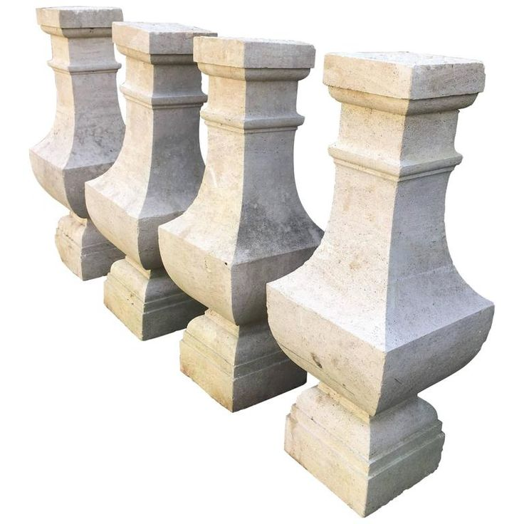 Two Pairs of Carved Limestone Balusters with Provenance | From a unique collection of antique and modern architectural elements at https://www.1stdibs.com/furniture/building-garden/architectural-elements/