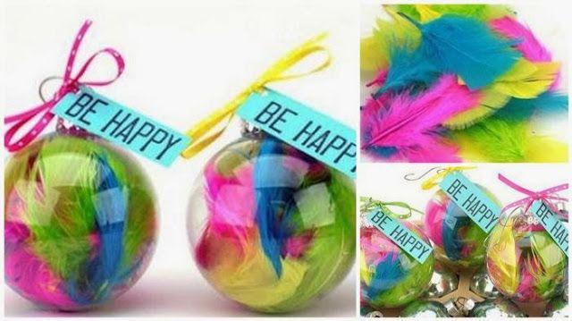 Hermosas esferas con plumas manualidades para navidad - Manualidades con plumas ...