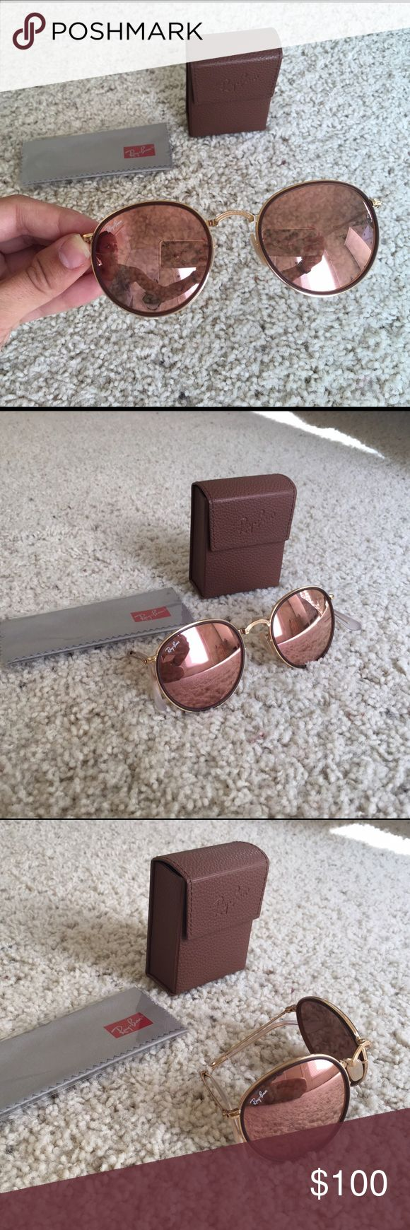 Rose Gold Round Folding Ray-Ban's Ray-Ban Round Metal folding sunglasses in Rose Gold. Purchased in February this year barely worn. Ray-Ban Accessories Sunglasses