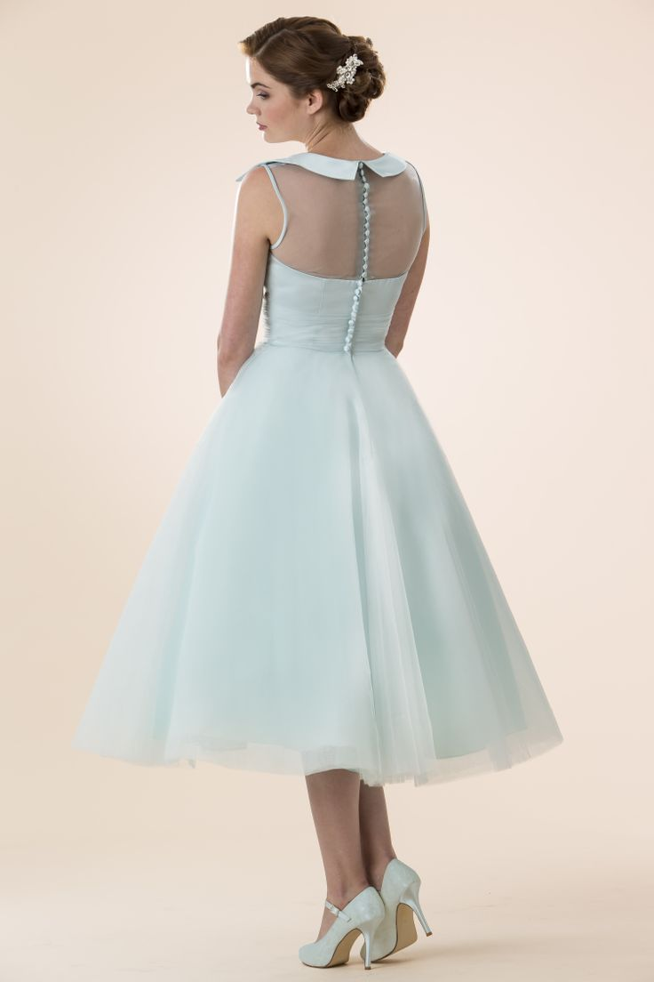 True Bridesmaid M580 T Length Dress With Satin Bodice And Fifties Style Collar