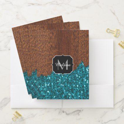 Aqua blue sparkles rustic brown wood Monogram Pocket Folder - elegant gifts gift ideas custom presents