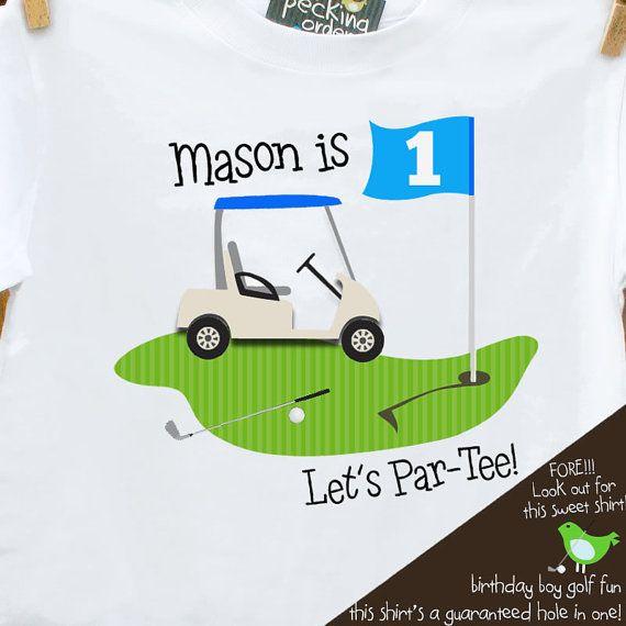 "golf Birthday Boy shirt - PAR TEE shirt - golf  sports themed birthday party plain t-shirt ....of course not a ""1"" t-shirt but cute!"