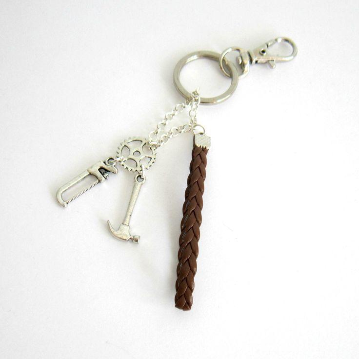 Porte-clé bricolage argenté et marron, simili cuir, fête des pères, outils, engrenage : Porte clés par color-life-bijoux