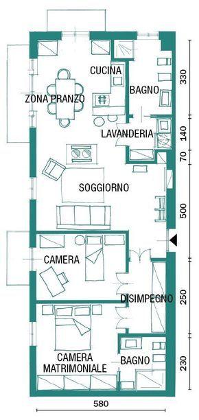 Una casa industrial style 90 mq di tendenza Planimetrie