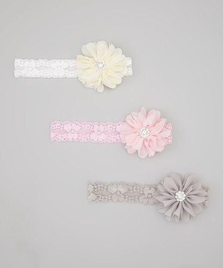 Charlotte Rose Couture Light Pink, Gray & Ivory Sparkle Headband Set | zulily