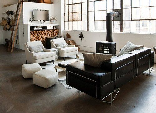 Coffee colored interior. Warmth in an industrial space.