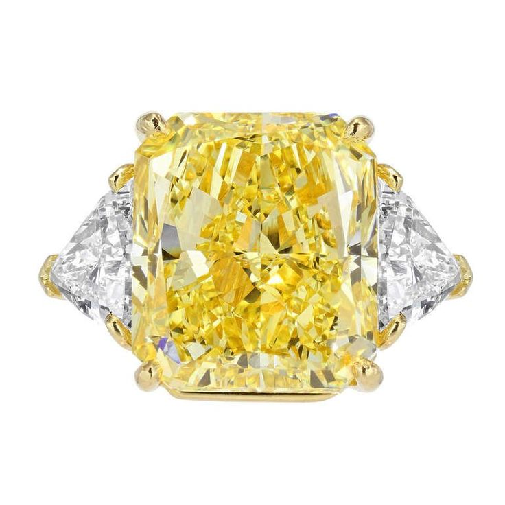 Bulgari 21.07 Carat Radiant Cut Natural Canary Diamond  Ring | From a unique collection of vintage three-stone rings at https://www.1stdibs.com/jewelry/rings/three-stone-rings/