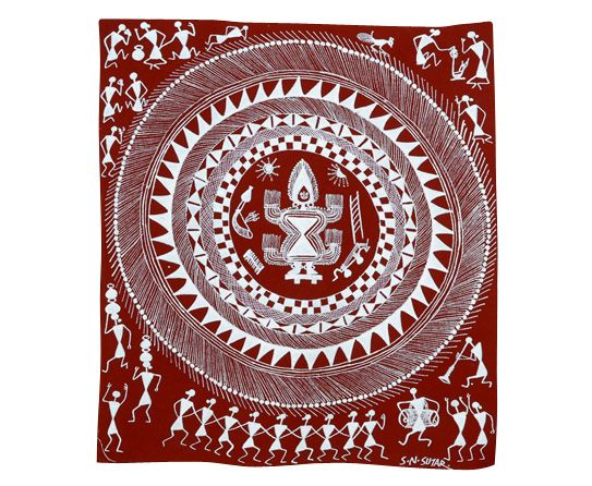 Folk-Art-Warli. Looks as if it is depicting a puja of some sort?