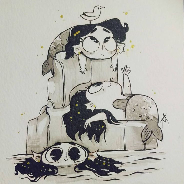 """2,589 Likes, 42 Comments - Amanda Martin (@ajmartinart) on Instagram: """"Baby merms for today! 🐙🐚 Day 11 of @tombancroft1 's #mermay #mermay2017 #ink #traditionalart…"""""""