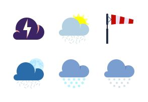 Weather and atmospheric phenomenon. Flat colorful icons.